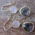 Gold Charcoal Gray Earrings..
