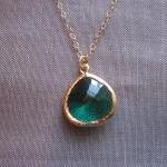 Emerald Green Necklace Gold Plated ..