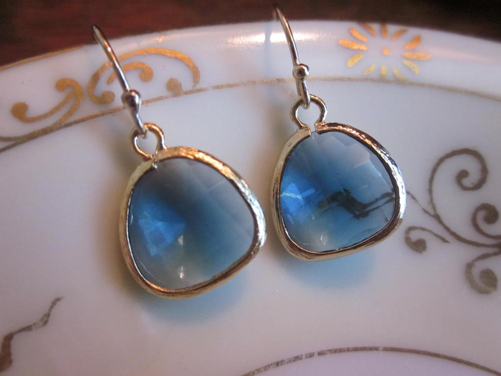 Sapphire Blue Earrings Gold Plated - Bridesmaid Earrings - Wedding Earrings - Bridal Earrings