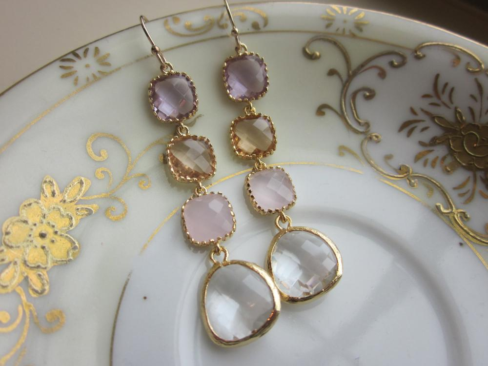 Crystal earrings pink champagne lavender earrings for Jewelry for champagne wedding dress