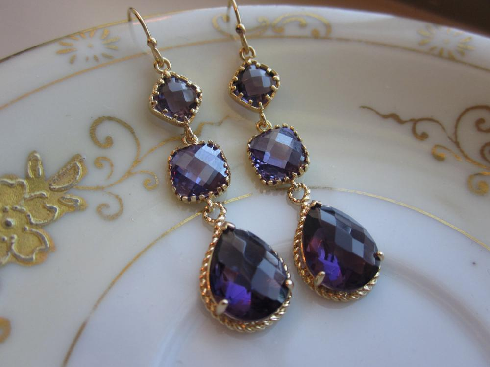 Amethyst Earrings Purple Gold - three tier - Bridesmaid Earrings - Wedding Jewelry - Bridal Earrings