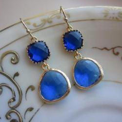 Cobalt Blue Earrings Gold - Gold Plated - Bridesmaid Earrings Wedding Earrings Bridal Earrings