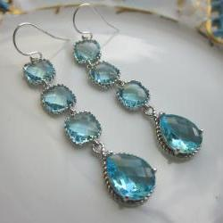 Aquamarine Earrings Blue Aqua Earrings - 4 tier earrings - Sterling Silver - Bridesmaid Earrings - Wedding Earrings - Bridal Earrings