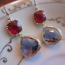 Amethyst Earrings Garnet Square Two Tier Gold Earrings - Bridesmaid Earrings Wedding Earrings Bridal Earrings