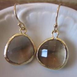 Smoky Brown Earrings - 16k Gold Plated Glass Earrings - Bridesmaid Earrings - Bridal Earrings