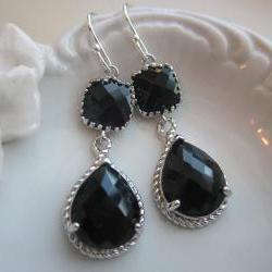 Black Earrings Onyx Silver Two Tier Earrings Teardrop Glass - Bridesmaid Earrings Wedding Earrings Bridal Earrings