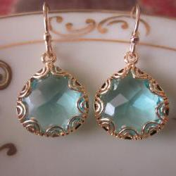 Gold Aquamarine Earrings - Pear Shape with Gold Design - Bridesmaid Earrings - Wedding Earrings