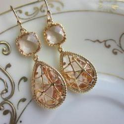 Champagne Peach Earrings Pink Gold Twisted Design - Bridesmaid Earrings Wedding Earrings Bridal Earrings
