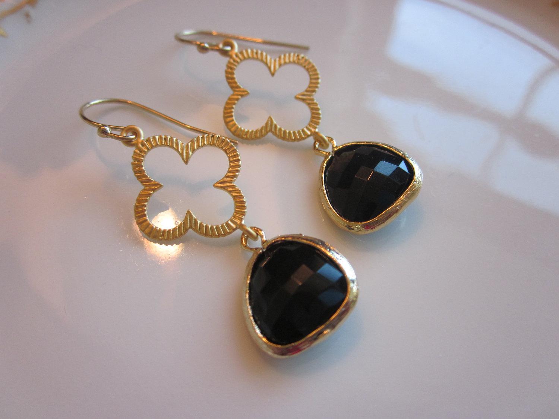 black earrings gold clover connectors bridesmaid