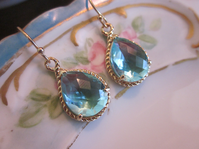 Aquamarine Earrings Gold  Teardrop Glass  Bridesmaid Earrings  Wedding  Earrings  Bridal Earrings