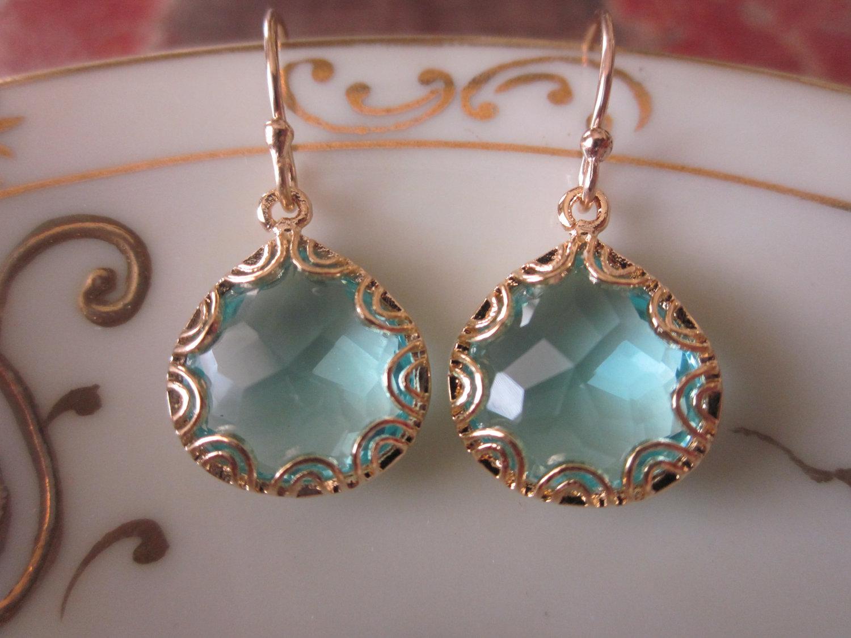Gold Aquamarine Earrings  Pear Shape With Gold Design  Bridesmaid Earrings   Wedding Earrings