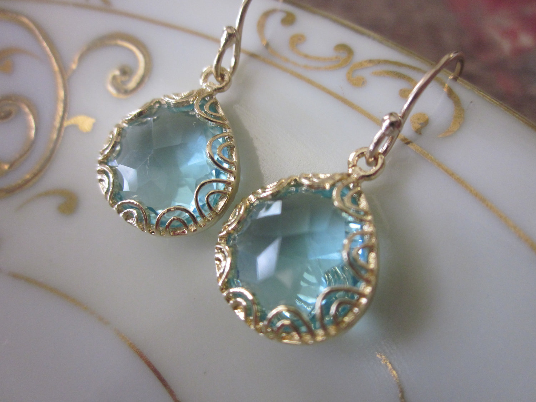 Gold Aquamarine Earrings  Pear Shape With Gold Design  Bridesmaid Earrings   Wedding Earrings On Luulla